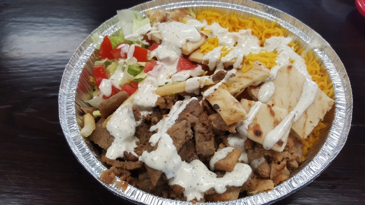 chicken and gyro over rice with white sauce OMG! Orlando
