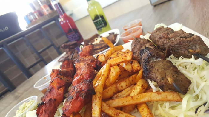 chicken and beef mishkaki and ribs from muchachos